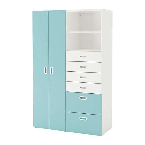 Fritids Stuva Wardrobe White Light Blue 120 X 50 X 192 Cm