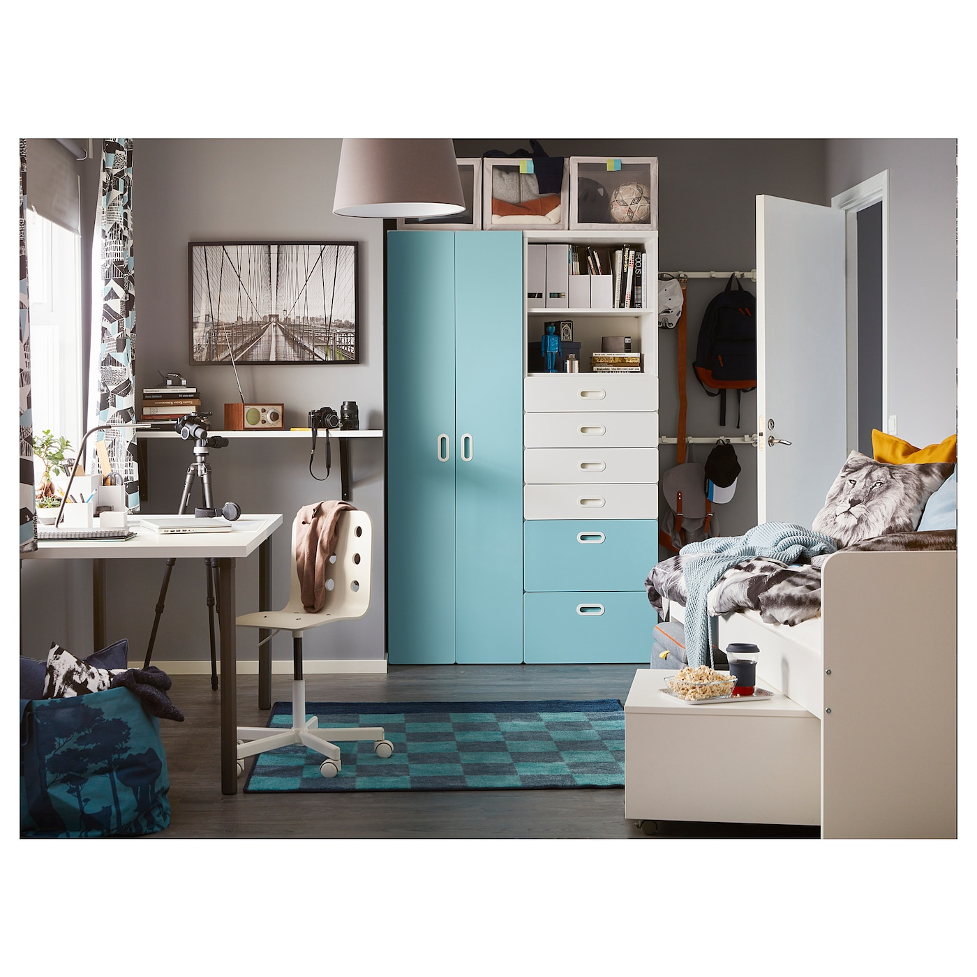 fritids stuva wardrobe white light blue 120 x 50 x 192 cm ikea. Black Bedroom Furniture Sets. Home Design Ideas