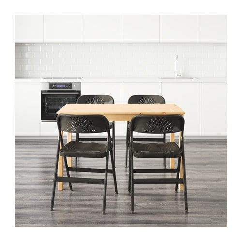 FRODE INGO Table And 4 Chairs Pine Dark Grey 120 Cm IKEA