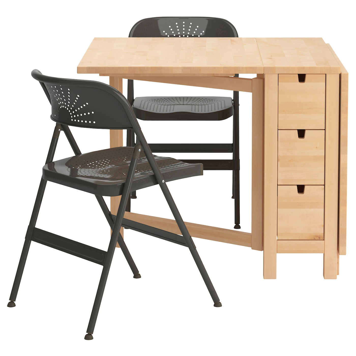 IKEA FRODE/NORDEN table and 2 chairs Solid wood is a hardwearing natural material.
