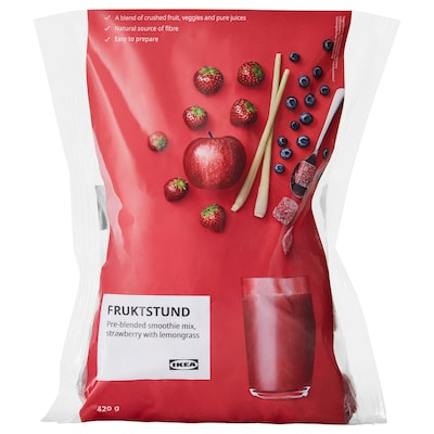 FRUKTSTUND Pre-blended smoothie mix, strawberry with lemongrass/frozen, 420 g
