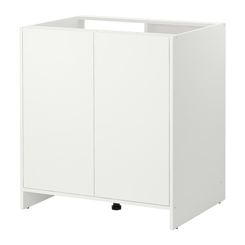 FYNDIG Base cabinet with doors IKEA 1 adjustable shelf; adapt spacing to your own storage needs.  Possible to build in a sink.