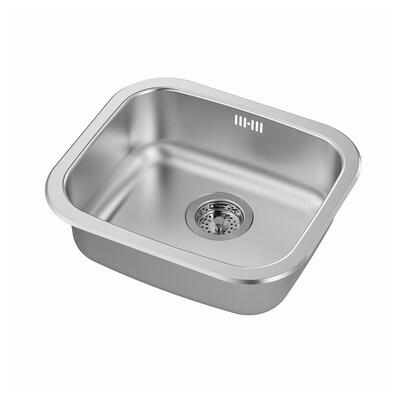 FYNDIG inset sink, 1 bowl stainless steel 15 cm 34 cm 38 cm 44 cm 40 cm 46 cm 46 cm 40 cm 20.4 l