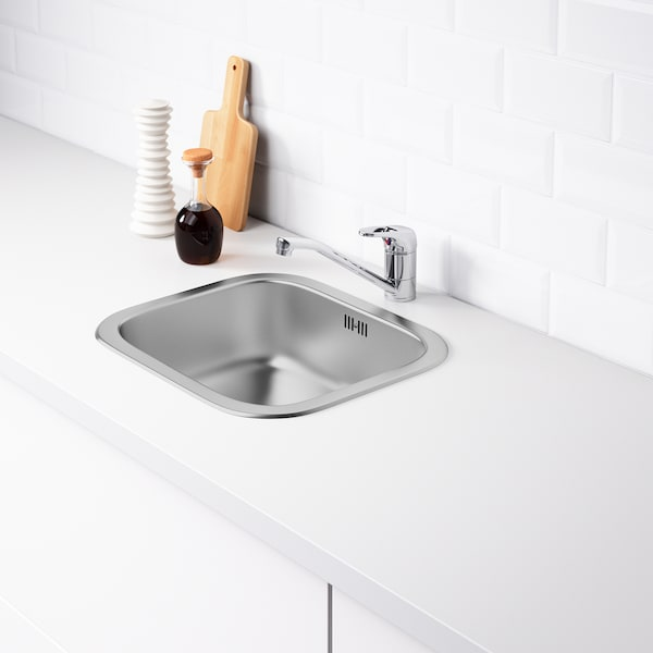 FYNDIG Single-bowl inset sink, stainless steel, 46x40 cm