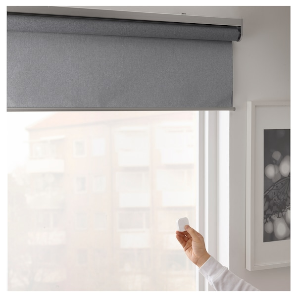 FYRTUR Block-out roller blind, wireless/battery-operated grey, 120x195 cm