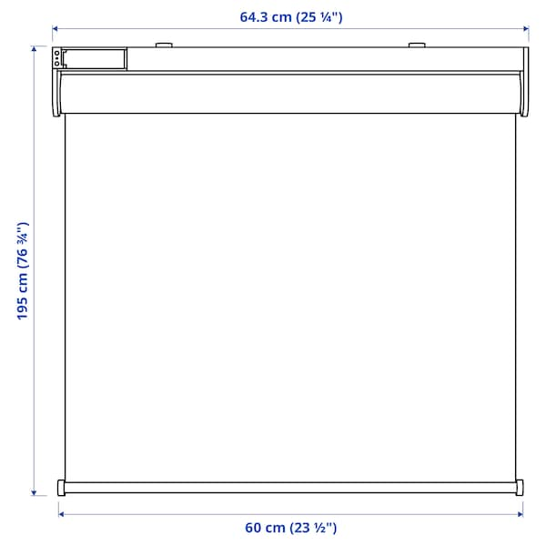 FYRTUR Block-out roller blind, wireless/battery-operated grey, 60x195 cm