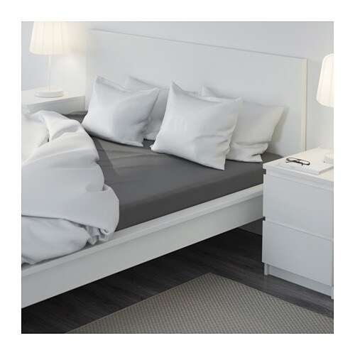 g spa fitted sheet dark grey 140x200 cm ikea. Black Bedroom Furniture Sets. Home Design Ideas