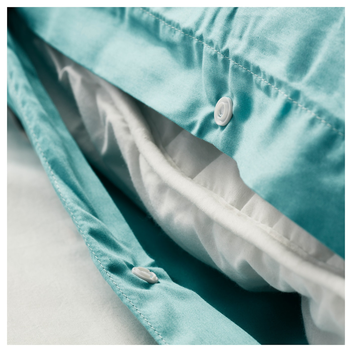 GÄSPA Quilt cover and 2 pillowcases Turquoise 150×200