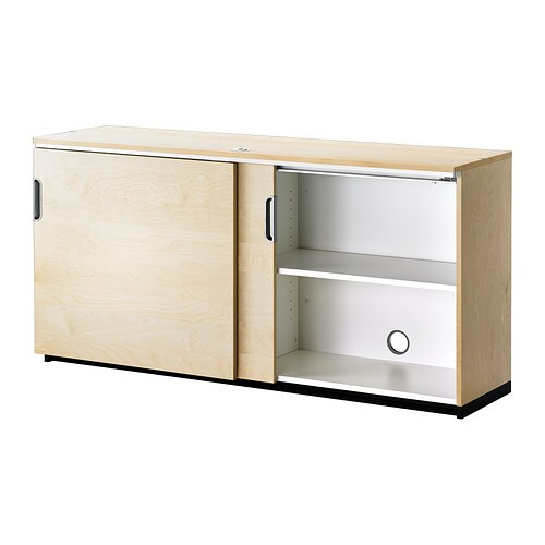Galant cabinet with sliding doors birch veneer 160x80 cm - Ikea cabinet doors on existing cabinets ...
