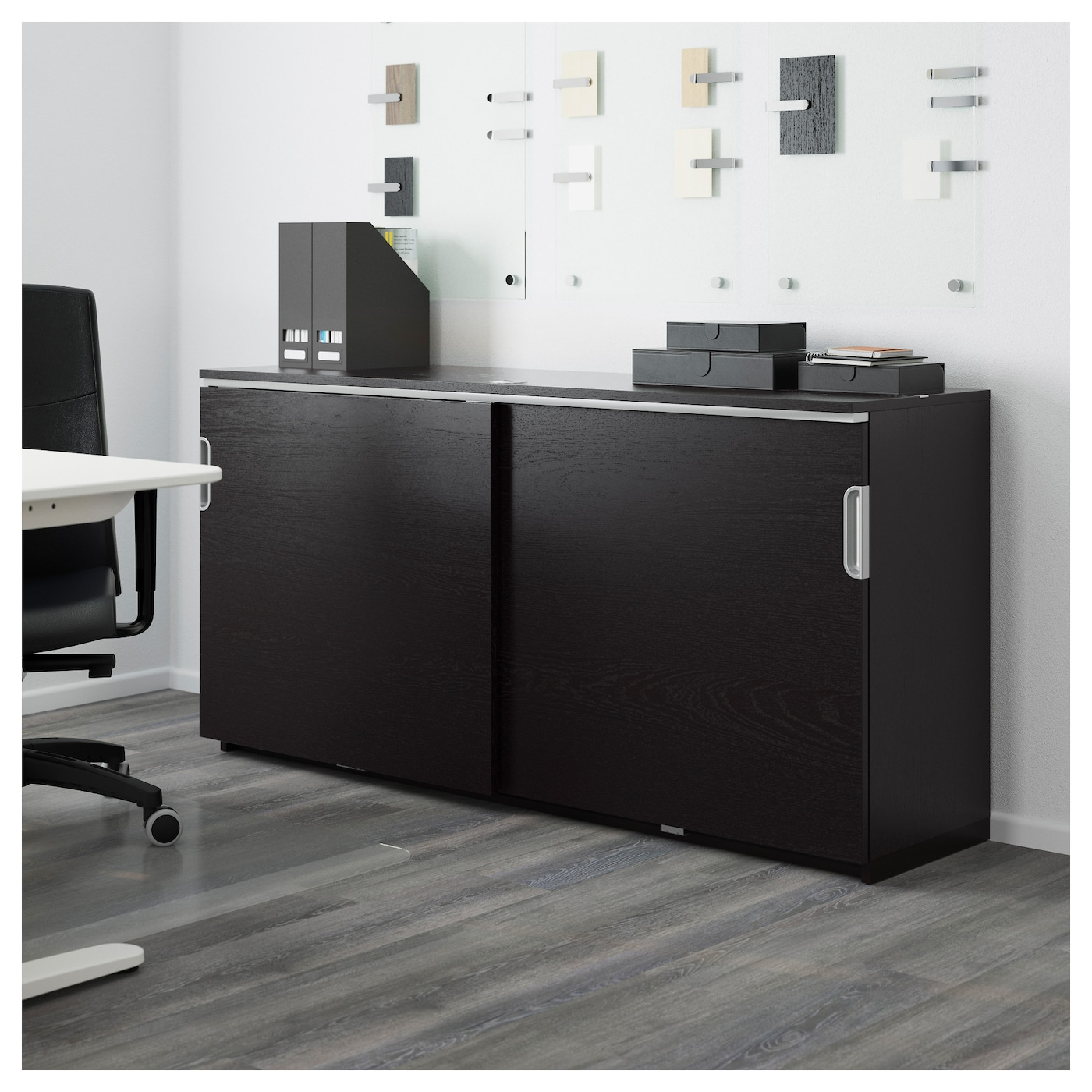 IKEA GALANT cabinet with sliding doors Integrated damper makes doors close silently and gently.