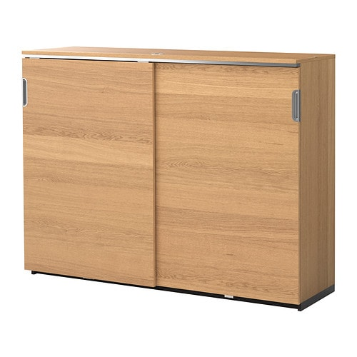 Galant Cabinet With Sliding Doors Oak Veneer 160 X 120 Cm Ikea
