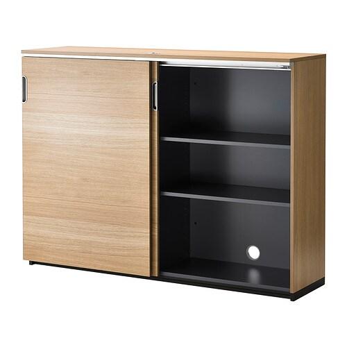 Galant Cabinet With Sliding Doors Oak Veneer 160x120 Cm Ikea