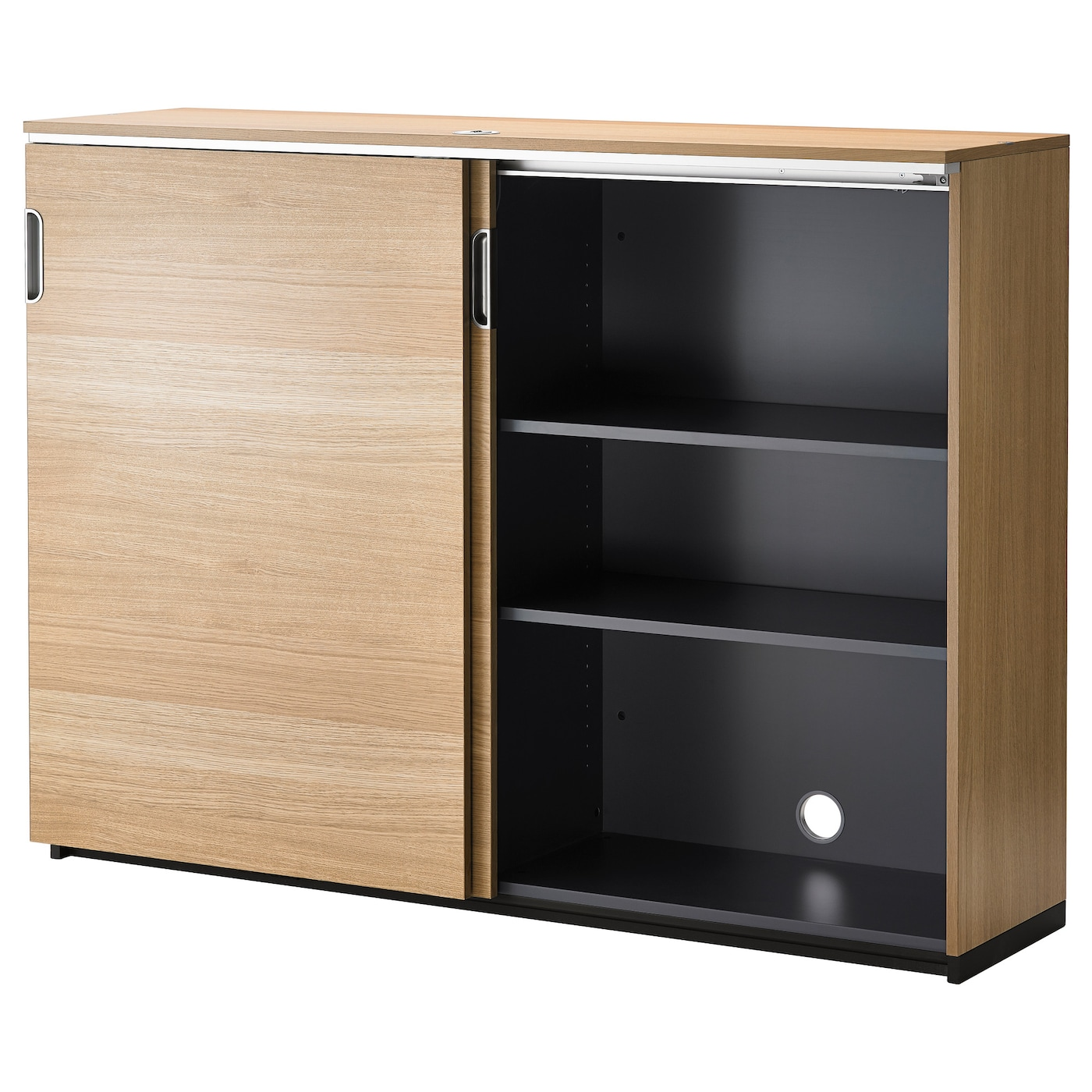 Galant cabinet with sliding doors oak veneer 160x120 cm ikea - Ikea cabinet doors on existing cabinets ...