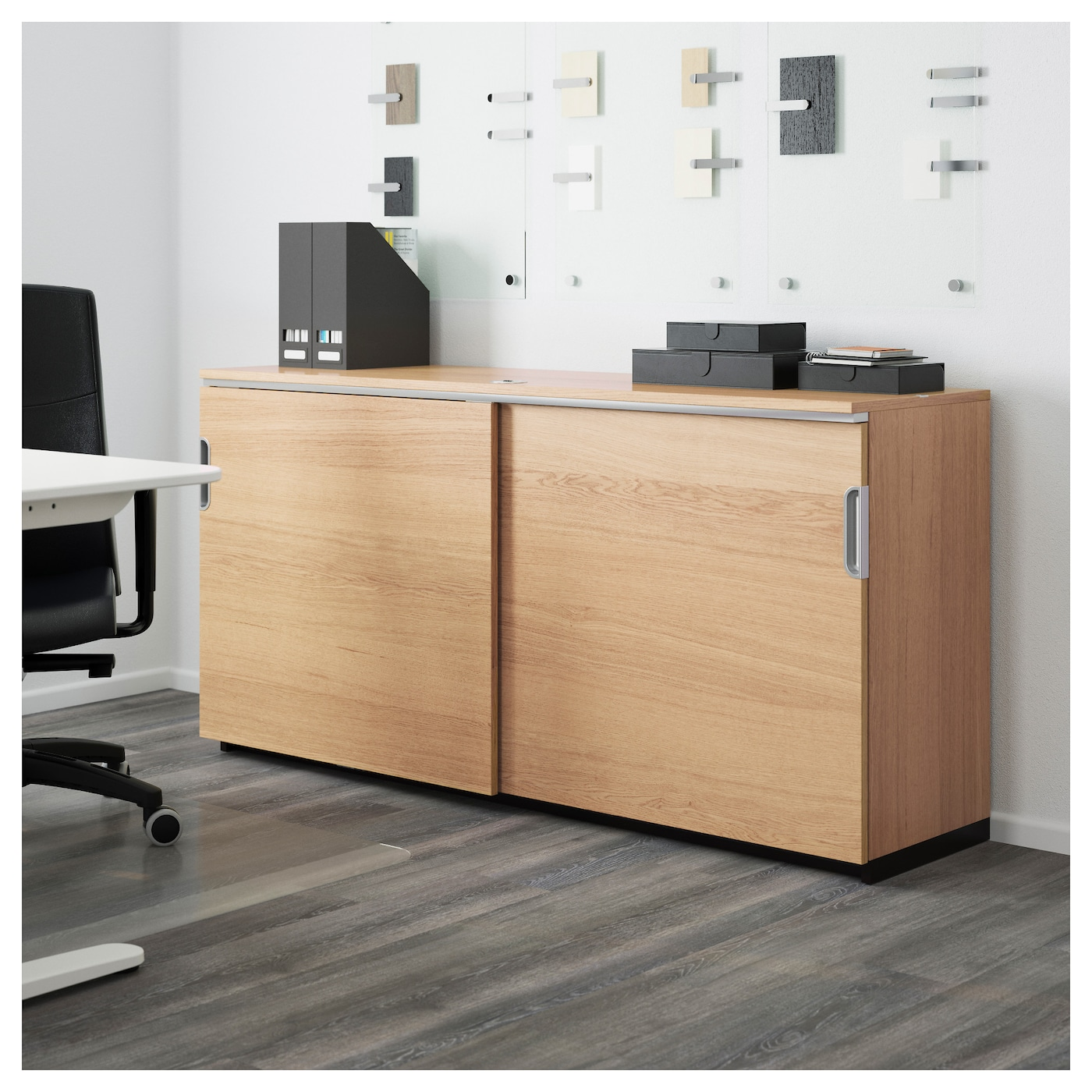 Galant Cabinet With Sliding Doors Oak Veneer 160x80 Cm Ikea