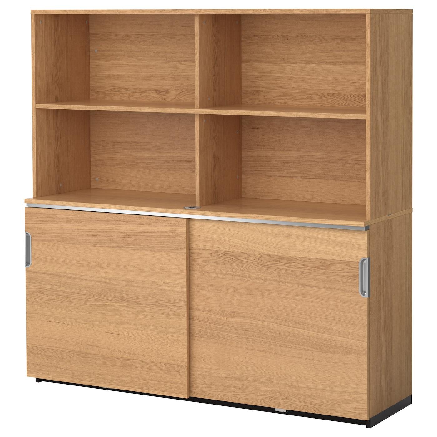 Galant Storage Combination W Sliding Doors Oak Veneer 160 X 160 Cm