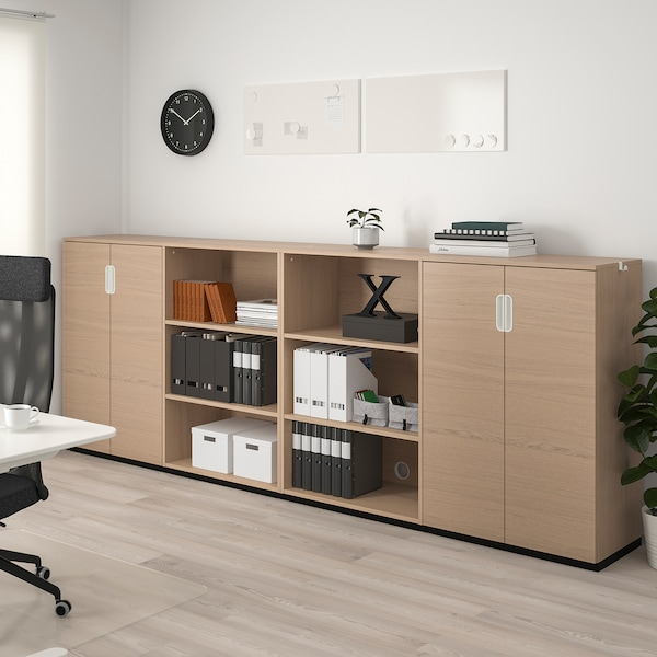 GALANT Storage combination, white stained oak veneer, 320x120 cm