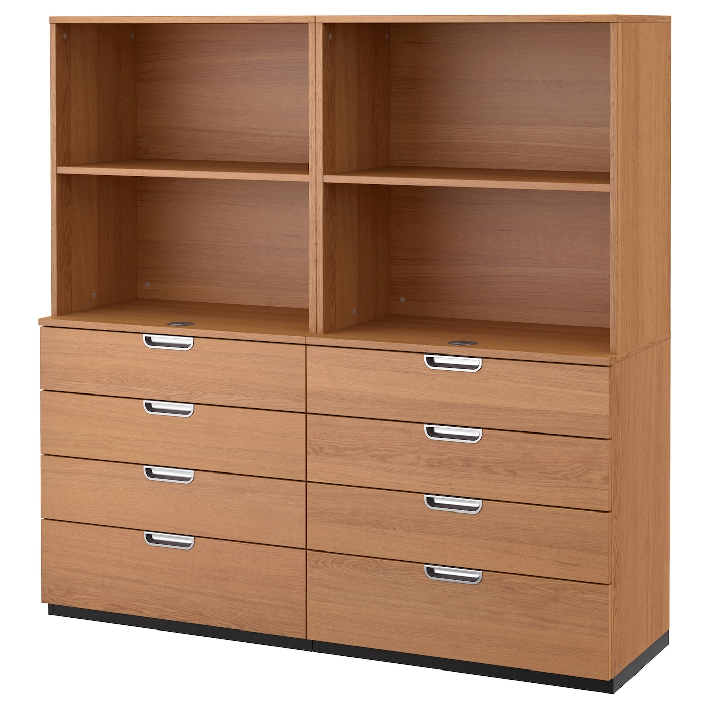 galant storage combination with drawers oak veneer 160x160