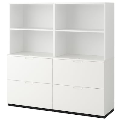 GALANT Storage combination with filing, white, 160x160 cm