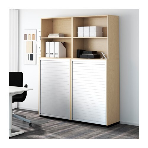 galant storage combination with roll front birch veneer 160x200 cm ikea. Black Bedroom Furniture Sets. Home Design Ideas