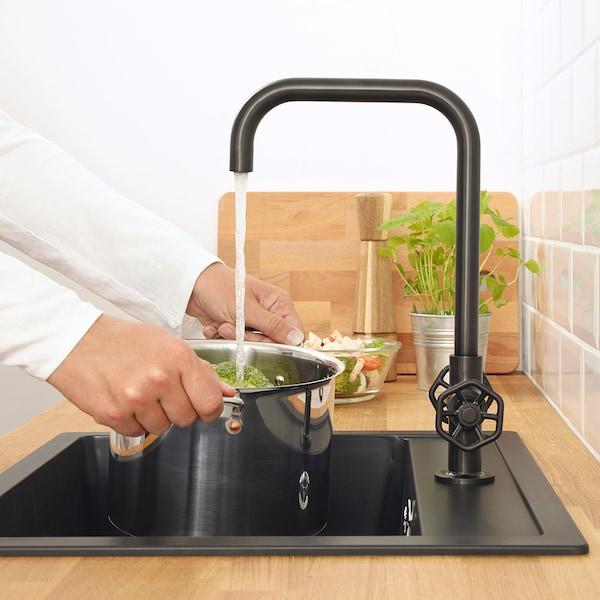 GAMLESJÖN dual-control kitchen mixer tap brushed black metal 36 cm