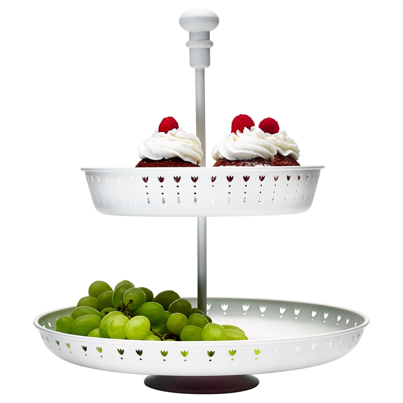 garnera serving stand two tiers white ikea