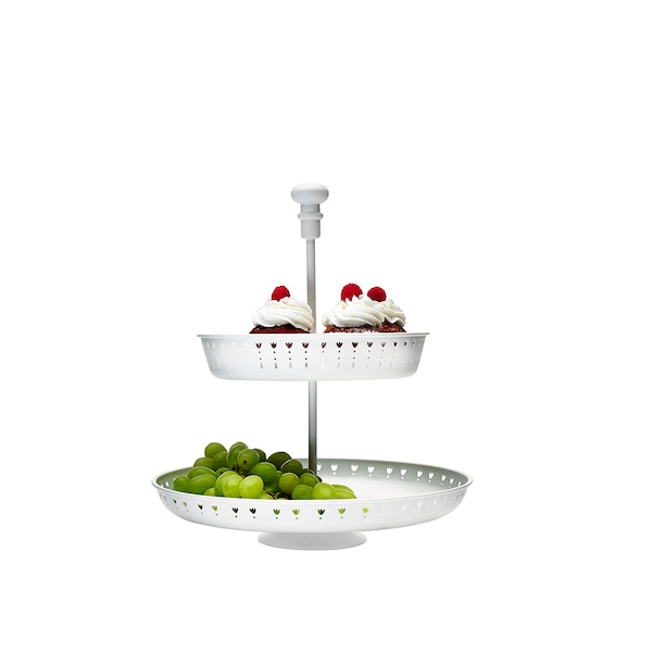 GARNERA Serving stand, two tiers, white