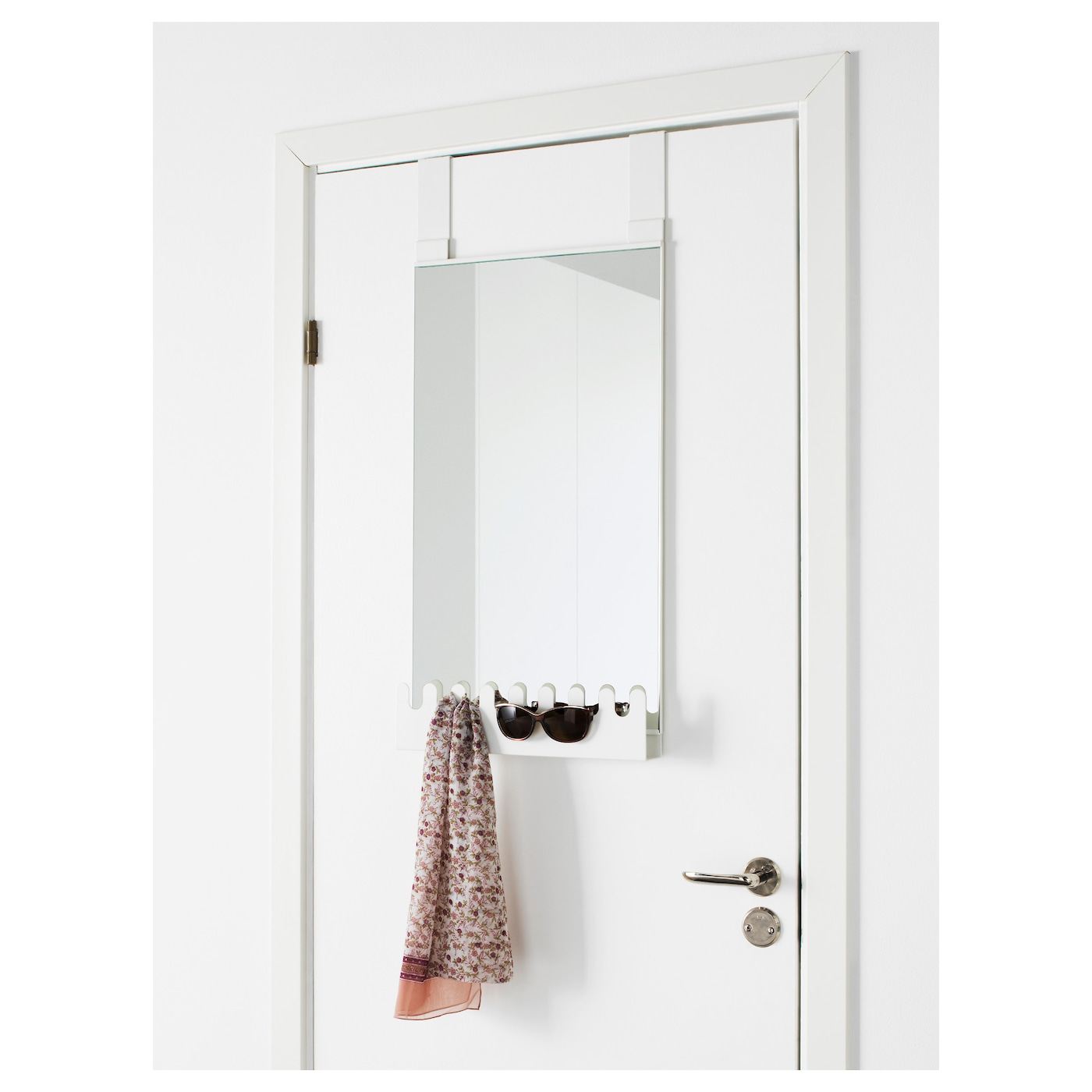 garnes over the door mirror w hooks shelf white 38x83 cm. Black Bedroom Furniture Sets. Home Design Ideas