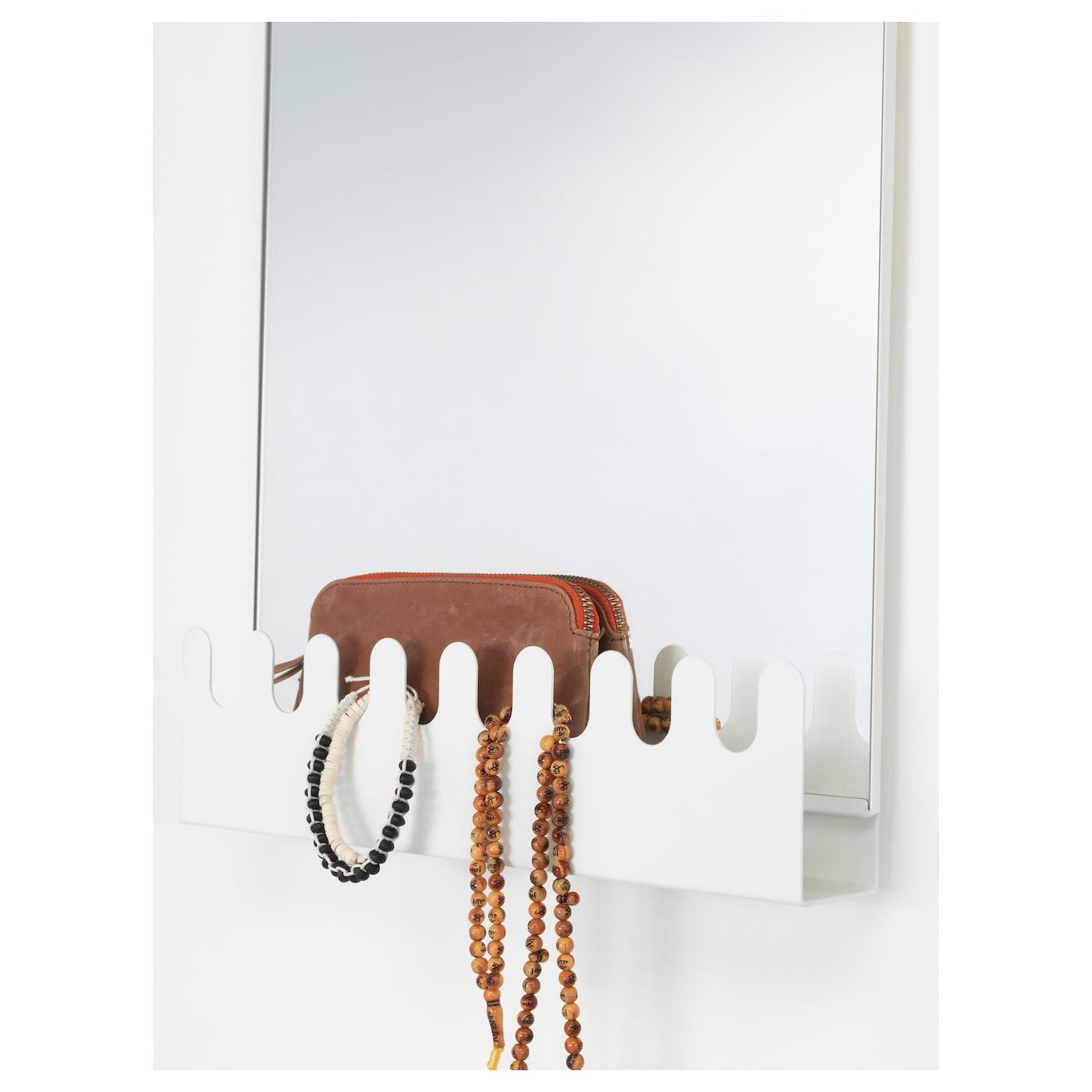 Garnes over the door mirror w hooks shelf white 38x83 cm for Mirror hooks