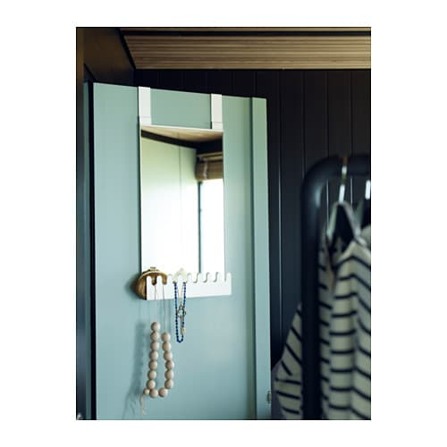 IKEA GARNES over-the-door mirror w hooks/shelf