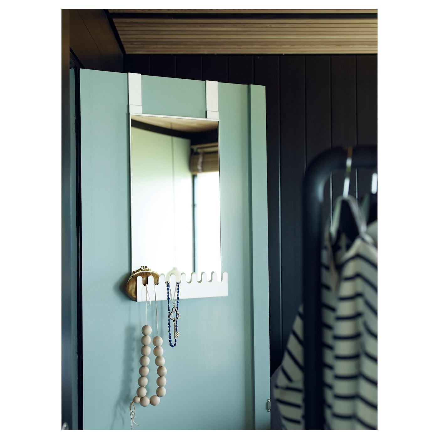 garnes over the door mirror w hooks shelf white 38x83 cm ikea. Black Bedroom Furniture Sets. Home Design Ideas