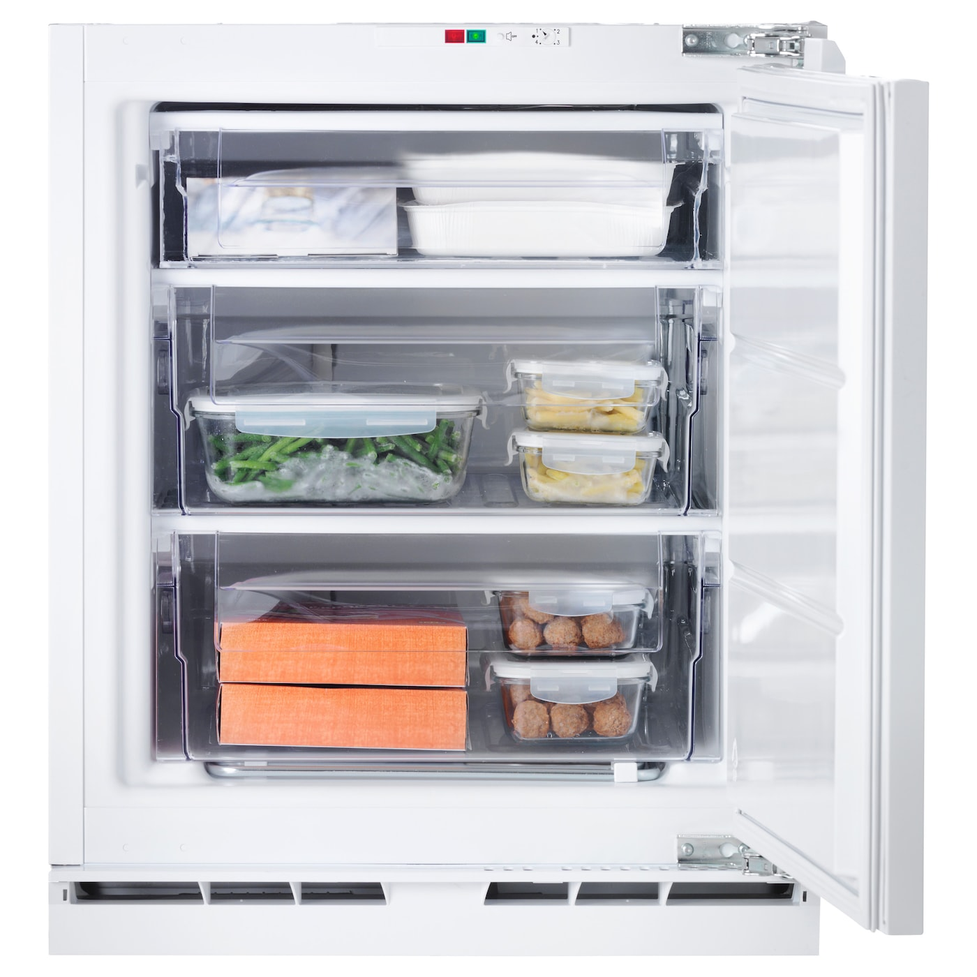 IKEA GENOMFRYSA integrated freezer A+ Smooth inner walls and 3 removable drawers for easy cleaning.