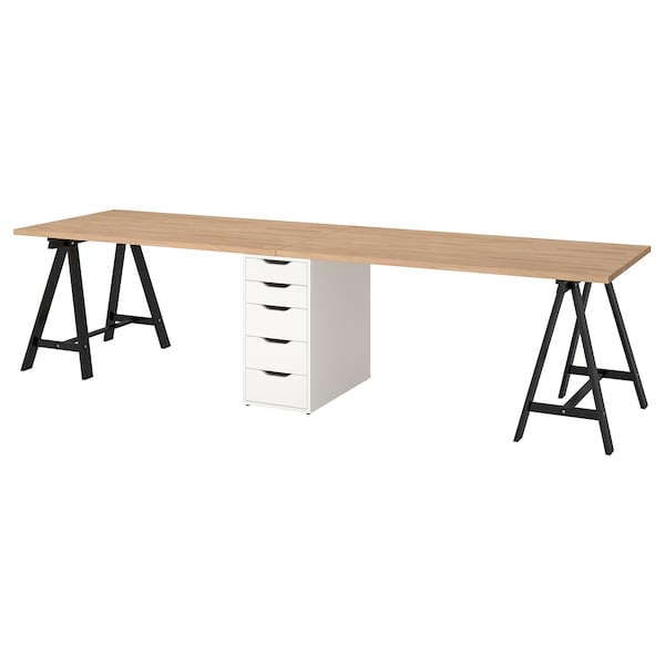 GERTON Table, beech/black white, 310x75 cm