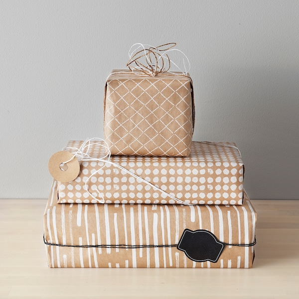 GIVANDE gift wrap roll natural/white 3 m 0.7 m 3 pack 9 m