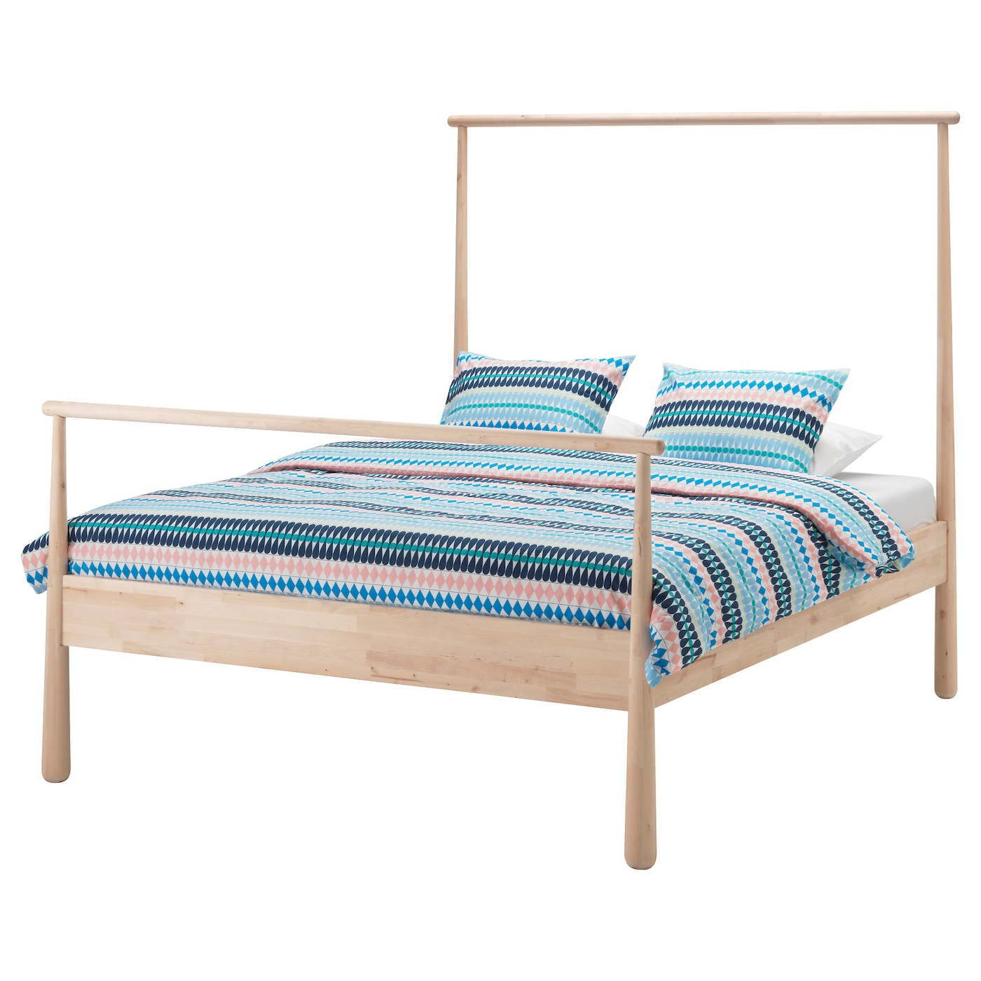 Gj ra bed frame birch lur y standard double ikea for Full size bed ikea