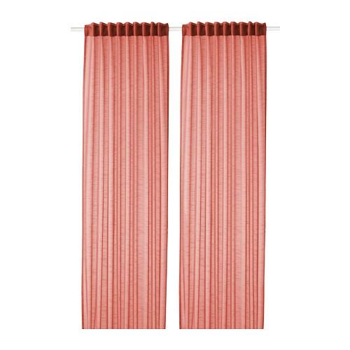 GJERTRUD Sheer curtains, 1 pair Brown-red 145x250 cm - IKEA