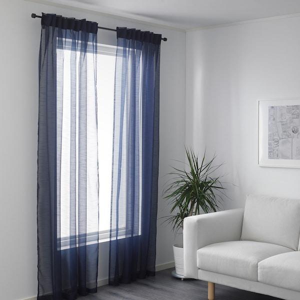 GJERTRUD Sheer curtains, 1 pair, dark blue, 145x250 cm