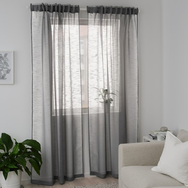 Gjertrud Dark Grey Sheer Curtains 1 Pair 145x250 Cm Ikea