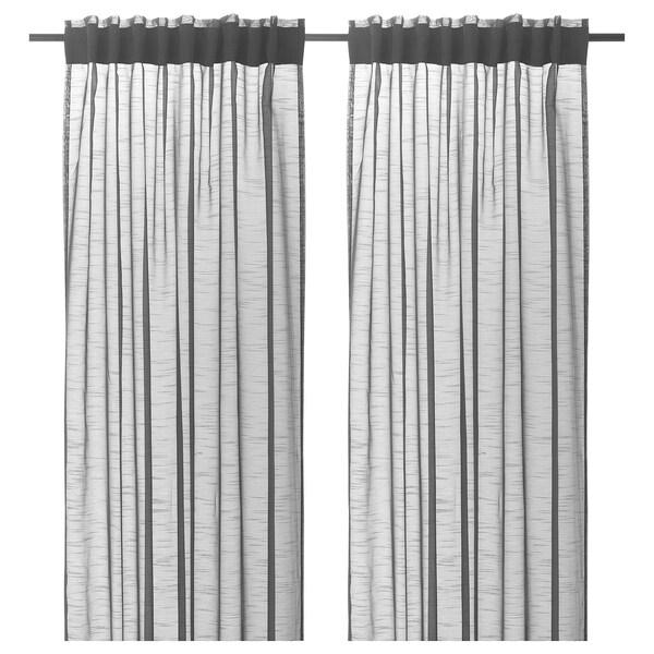 GJERTRUD Sheer curtains, 1 pair, dark grey, 145x250 cm