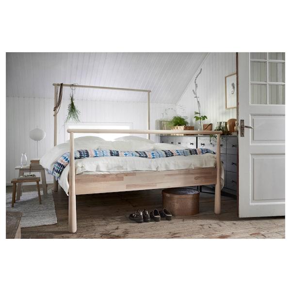 GJÖRA Bed frame, birch/Luröy, Standard Double