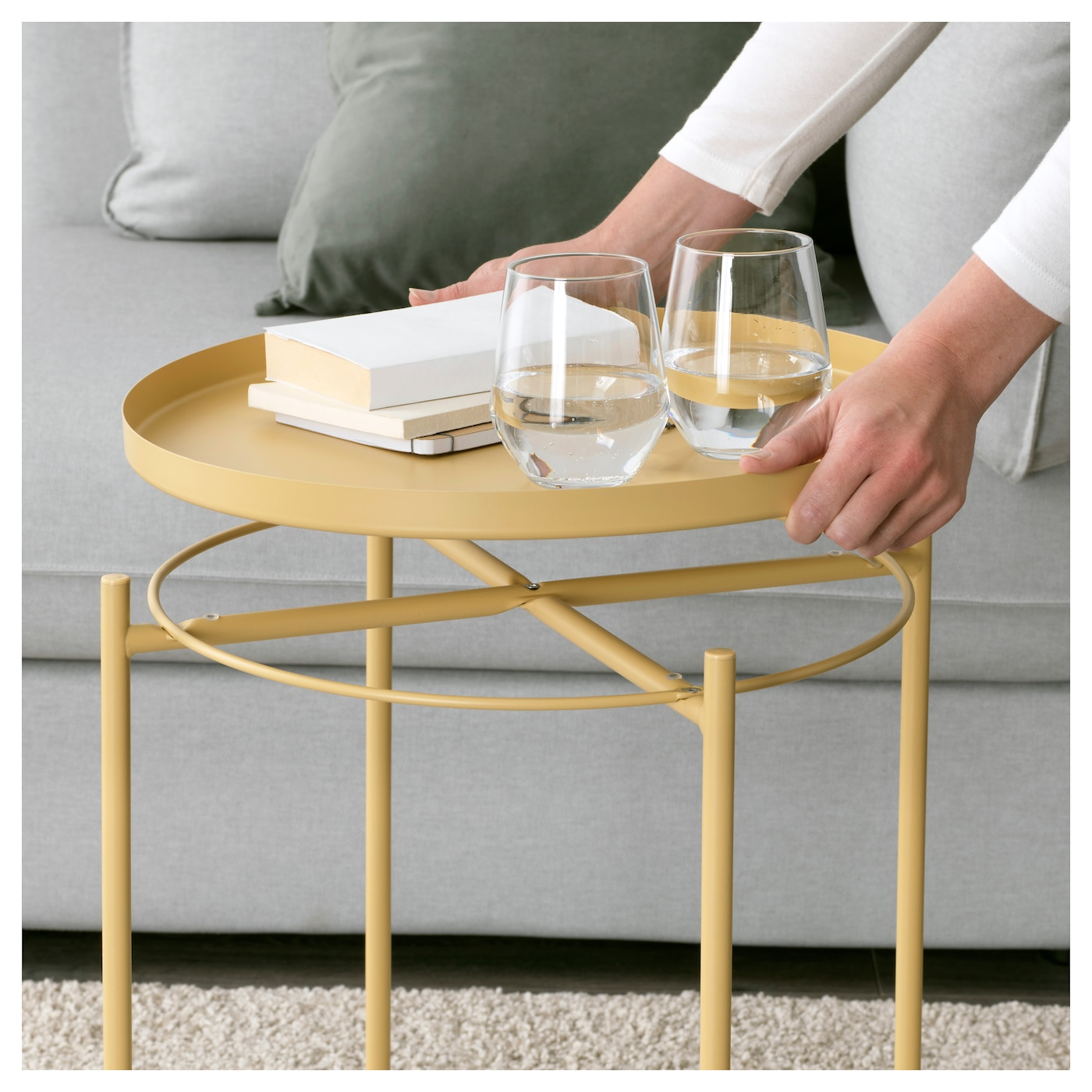 Anthropologie Coffee Table Tray: GLADOM Tray Table Light Yellow 45 X 53 Cm