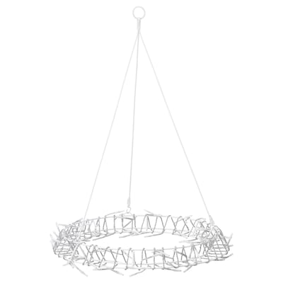 GLÄNSA Hanging decoration, electric, ring shaped white, 40 cm