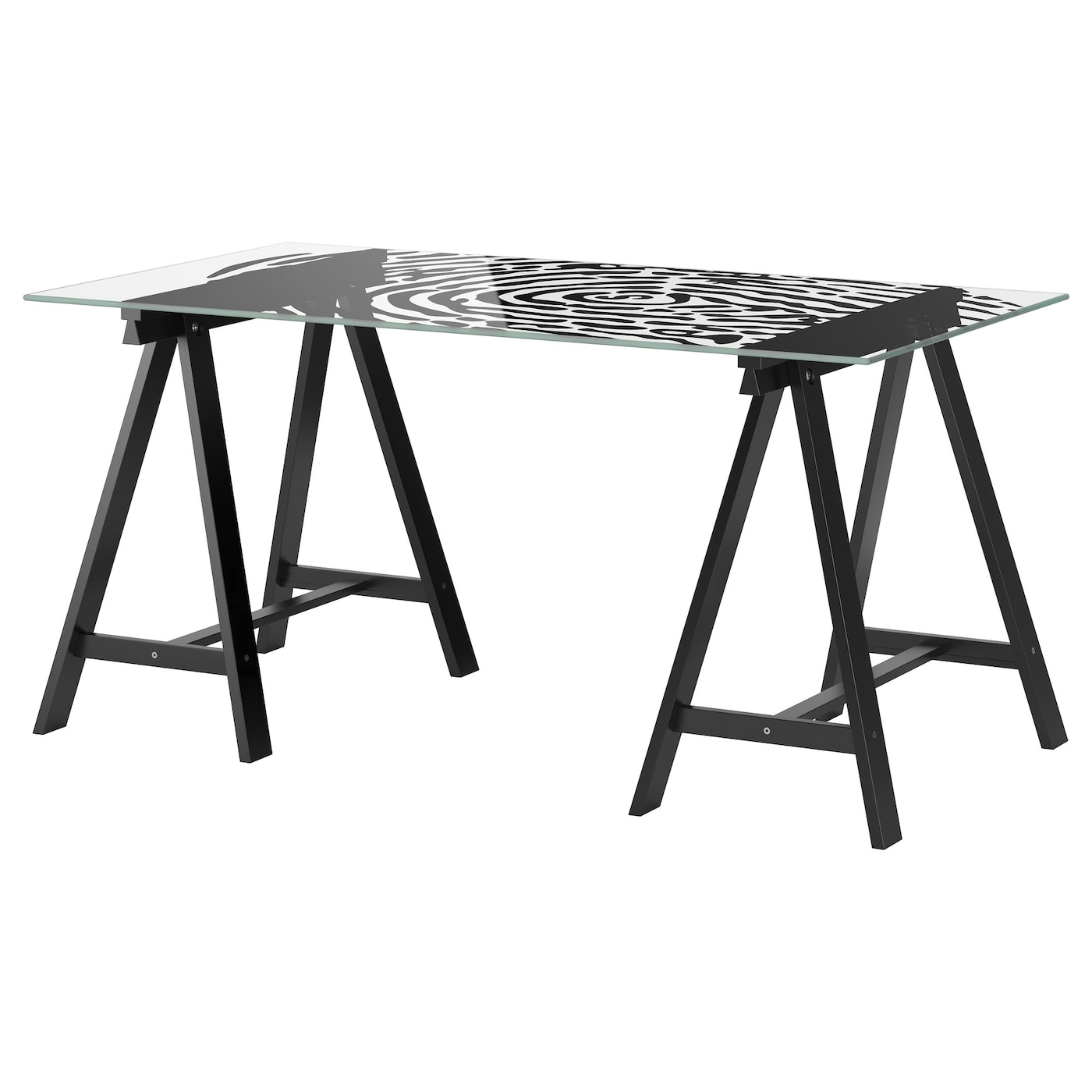 Glasholm oddvald table glass fingerprint pattern black for Ikea glass work desk