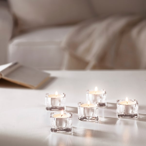 GLASIG Tealight holder, clear glass, 5x5 cm