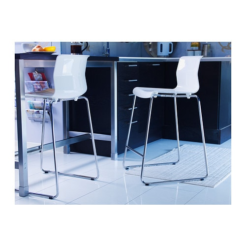 Glenn Bar Stool White Chrome Plated 77 Cm Ikea