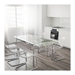 Glivarp extendable table transparent chrome plated 125 - Table a manger en verre ikea ...