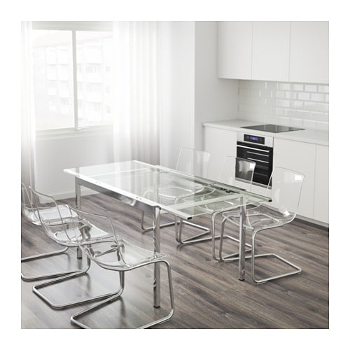Glivarp extendable table transparent chrome plated 125 - Table a manger ikea ...