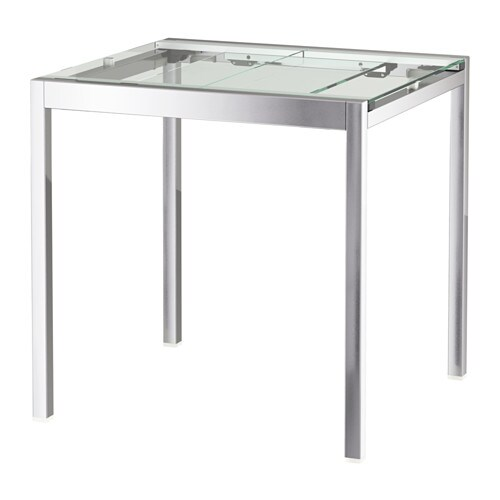 glivarp extendable table transparent chrome plated 75