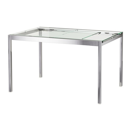 Glivarp extendable table transparent chrome plated 125 for Table salle a manger 80 cm largeur