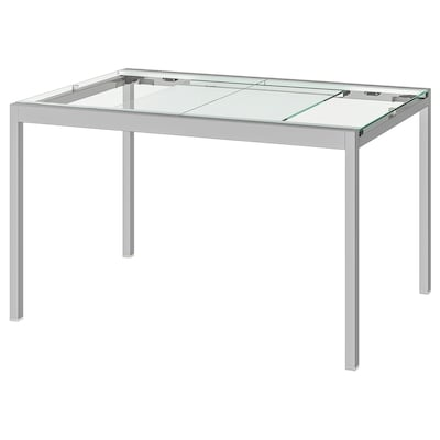 GLIVARP Extendable table, transparent/chrome-plated, 125/188x85 cm