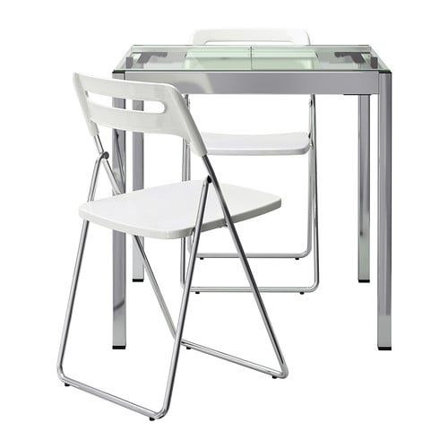 GLIVARP / NISSE Table and 2 chairs IKEA A table top in tempered glass is stain resistant and easy to keep clean.